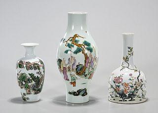 Group of Three Chinese Enameled Porcelain Vases