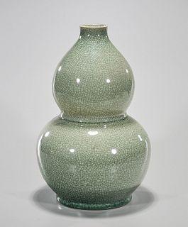 Chinese Green Crackle Glazed Porcelain Gourd Vase