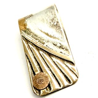 Hammered copper Nail Money Clip - Silver on Bronze Tray Section
