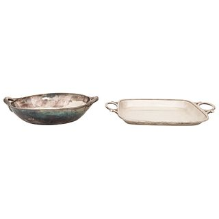 "PAIR OF TRAYS SILVER TANE MEXICO, 20TH CENTURY Weight: 911 g Tray 1: 6.2 x 10.2"" (16 x 26 cm) Charola 2: 5.3 x 8.4"" (13.5 x 21.5 cm)"