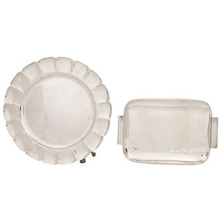 "LOT OF SILVER PLATTER AND TRAY 20TH CENTURY Total weight: 1841 g Platter: 37 cm in diameter Tray: 9 x 12.9"" (23 x 33 cm)"