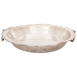 "TRAY 19TH CENTURY Round, scalloped edge, low grade silver. Weight: 1295 g 16.1"" (41 cm) in diameter"