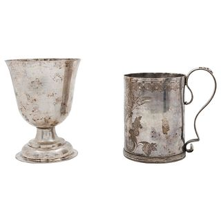 LOT OF JAR AND CUP SOUTH AMERICA (?), 18TH-19TH CENTURIES Silver Cup with smooth design. Jar with geometric decoration 598 g