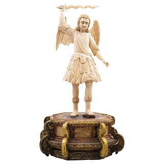 "ST MICHAEL ARCHANGEL 18TH-19TH CENTURIES Carved in ivory 35.4"" (90 cm) tall Carved wooden base"