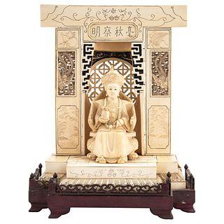"EMPRESS ON THRONE CHINA, 20TH CENTURY Inked carved ivory 15.3 x 12.4 x 7.6"" (39 x 31.5 x 19.5 cm)"