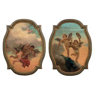 "IN STYLE OF GIAMBATTISTA TIÉPOLO (1696-1770) QUERUBINES ITALIAN SCHOOL, 18TH CENTURY Oil on canvas 36.2 x 26.3"" (92 x 67 cm)"