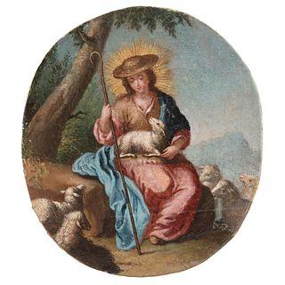 "DIVINA PASTORA MEXICO, 18TH CENTURY Oil on canvas Conservation and restoration details 8.2 x 7.4"" (21 x 19 cm)"