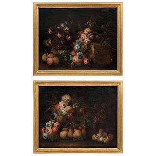 """NATURALEZA MUERTA CON FLORES EUROPE, EARLY 18TH CENTURY Oil on canvas Pieces: 2 24.8 x 31.4"""" (63 x 80 cm)"""