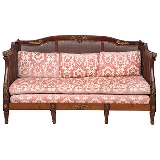 """EMPIRE STYLE SOFA 20TH CENTURY Carved in wood with bronze applications, bejuco backrest 43.3 x 72.8 x 32.2"""" (110 x 185 x 82 cm)"""
