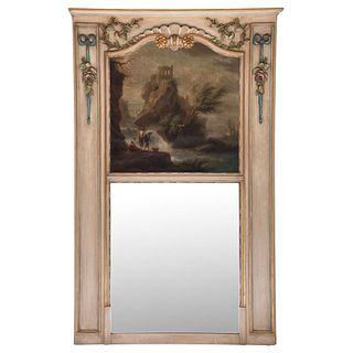 "TRUMEAU FRANCE, 19TH CENTURY Carved and polychrome wood panel, mirror and oil painting with traditional landscape scene 33.4 x 43.3"" (85 x 110 cm)"