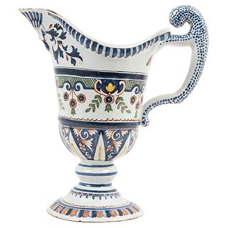 """FAÏENCE DE ROUEN FRANCE 18TH CENTURY HULL SHAPED PITCHER (AIGUIÈRE DE FORME CASQUE) Hand-decorated pottery with borders 11"""" (28 cm) tall"""