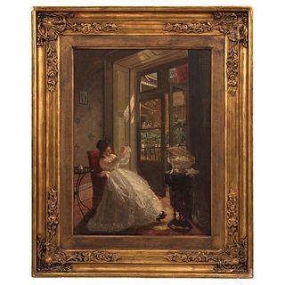 """MANUEL OCARANZA URUAPAN, MICHOACÁN 1841-CIUDAD DE MÉXICO 1882 EL COSTURERO (SEGUNDA VERSIÓN), 1873 Oil on canvas 31.8 x 23.6"""" (81 x 60 cm)"""