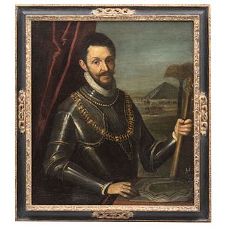 "RETRATO DE PERSONAJE CON ARMADURA Y PAISAJE CON PIRÁMIDE, VENETIAN SCHOOL, LATE 16TH CENTURY Oil on canvas 36.2 x 32.2"" (92 x 82 cm)"