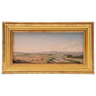 """Chapman, Conrad Wise (USA, 1842 - 1910) Paisaje del Valle de México Oil on wood 5.9 x 12.9"""" (15 x 33 cm)"""