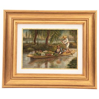 "CHAPMAN, CONRAD WISE (USA 1842-1910) XOCHIMILCO Signed WChapman Oil on canvas 7.4 x 10.2"" (19 x 26 cm)"