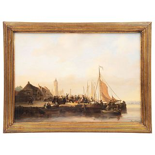 "HENRI ADOLPHE SCHAEP MECHELEN 1826-AMBERES 1870 VISTA DE PUERTO Signed and dated 1847 Oil on wood 17.3 x 24.6"" (44 x 62.5 cm)"