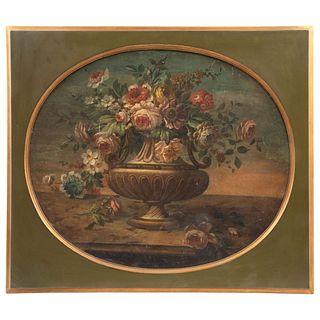 """BOUQUET DE FLORES EUROPE, LATE 18TH CENTURY Oil on canvas 22 x 26.3"""" (56 x 67 cm)"""