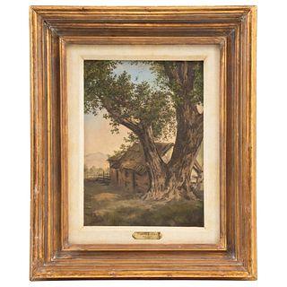 """ATTRIBUTED TO CARLOS RIVERA (MEXICO, 1855-1939) PAISAJE CON CABAÑA Y ÁRBOL Oil on wood 12 x 8.6"""" (30.5 x 22 cm)"""