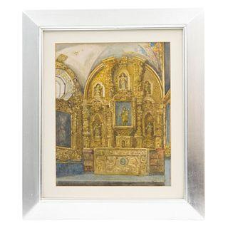 """LEANDRO IZAGUIRRE (MEXICO, 1867-1941) VISTA DE RETABLO Watercolor on paper Signed 12.9 x 10.4"""" (33 x 26.5 cm)"""