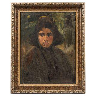 "GERMÁN GEDOVIUS (MEXICO, 1867 - 1937) RETRATO DE DAMA Oil on canvas Signed and referred 23.4 x 18.1"" (59.5 x 46 cm)"