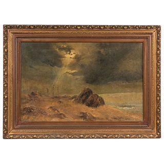 "ARMANDO GARCÍA NUÑEZ  OAXACA 1883- CIUDAD DE MÉXICO 1966 GÓLGOTA  Oil on canvas Signed and dated 24.8 x 38.9"" (63 x 99 cm)"
