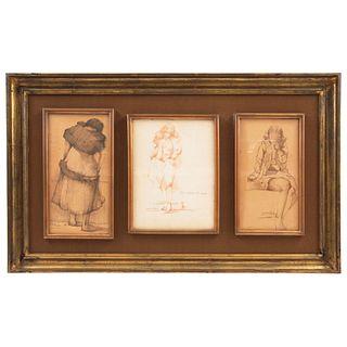"""ARMANDO GARCÍA NUÑEZ  (OAXACA 1883- MEXICO CITY 1966) TRES DIBUJOS FEMENINOS Pencil on paper Drawing 1: 11 x 5.5"""" (28 x 14 cm)"""