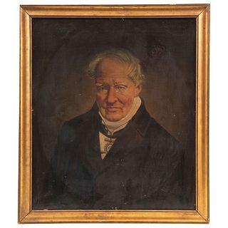 "RETRATO DE ALEXANDER VON HUMBOLDT EUROPE, 19TH CENTURY Oil on canvas 26.7 x 22.8"" (68 x 58 cm)"