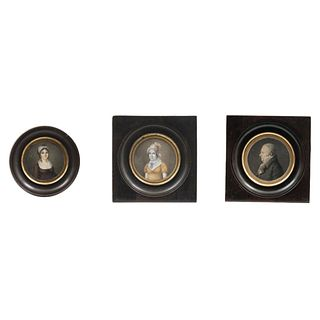 """LOT OF THREE MINIATURES EUROPE, 19TH CENTURY Oil on sheet, watercolor and gouache and lithography 3.1"""" (8 cm) maximum size"""