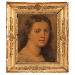 """RETRATO DE DAMA EUROPA, 19TH CENTURY Oil on canvas 11.8 x 9.8"""" (30 x 25 cm)"""