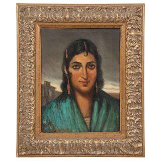 """CARLOS RUANO LLOPIS RETRATO DE DAMA Oil on canvas 15.7 x 11.8"""" (40 x 30 cm)"""