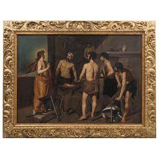 """LA FRAGUA DE VULCANO ELVIRA SORIANO (MADRID (¿?-2011) A PARTIR DE LA OBRA DE DIGO VELAZQUEZ Oil on canvas 45.8 x 63.9"""" (116.5 x 162.5 cm)"""