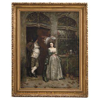 "HENRI PILLE (FRANCE, 1844 - 1897) L´AUTOMNE Oil on canvas Signed Conservation and restoration details 45 x 34.6"" (114.5 x 88 cm)"