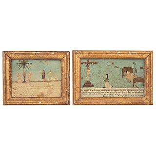 "PAIR OF EX-VOTOS IN DEVOTION TO SEÑOR DE VILLASECA MEXICO, 20TH CENTURY Oil on sheet 6.6 x 10.8"" (17 x 27.5 cm)"