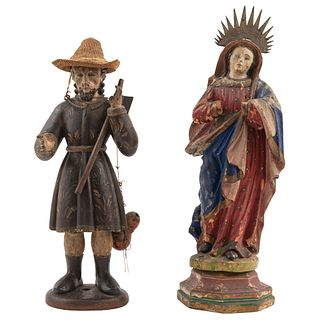 """ST JOSEPH AND THE VIRGIN MARY MEXICO, 19TH CENTURY Carved in polychromed wood 22.8"""" (58 cm) maximum dimensions"""
