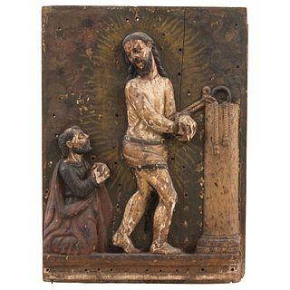"CRISTO ATADO A LA COLUMNA MEXICO, 18TH CENTURY Relief on polychrome wood, glass eyes 23.6 x 17.9"" (60 x 45.5 cm)"