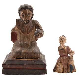 """LOT OF TWO RELIGIOUS FIGURES MEXICO, 19TH CENTURY Polychrome wood carving 7.4"""" (19 cm) maximum size"""