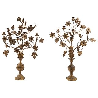 """PAIR OF FLORILEGIUMS  MEXICO, 19TH CENTURY Gold metal Conservation and structural details 33"""" (84 cm) tall"""