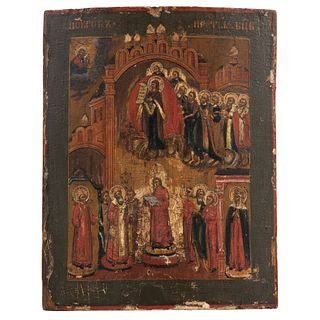 """ICON PROTECTION OF THE MOTHER OF GOD RUSSIA, LATE 19TH CENTURY Oil on gilded and sgraffito wood. 12.9 x 10.4""""  (33 x 26.5 cm)"""