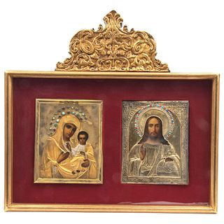 """PAIR OF ICONS RUSSIA, 20TH CENTURY. OIL ON WOOD. VIRGIN WITH CHILD. 7 x 5.7"""" (18 x 14.5 cm) JESUS CHRIST 6.8 x 5.5"""" (17.5 x 14 cm)"""