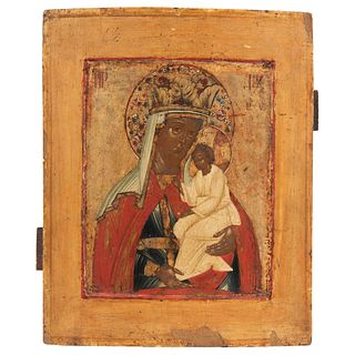 """ICON VIRGIN WITH CHILD  RUSSIA, 19TH CENTURY Oil on wood Conservation details, detachments 12.4 x 10.6"""" (31.5 x 27 cm)"""