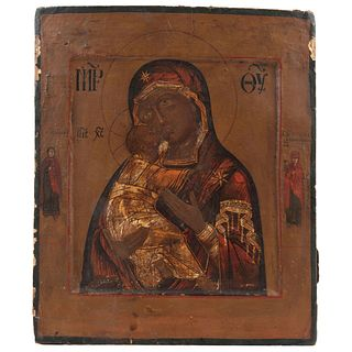 """ICON VIRGIN WITH CHILD RUSSIA, 19TH CENTURY Oil on wood Conservation details, detachments 13.3 x 11"""" (34 x 28 cm)"""