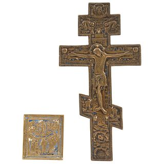 """ICON AND RUSSIAN ORTHODOX CROSS RUSSIA, 19TH CENTURY In bronze with enamel remains Cross: 14.7 x 7.6"""" (37.5 x 19.5) Icon: 3.7 x 3.9"""" (9.5 x 10 cm)"""