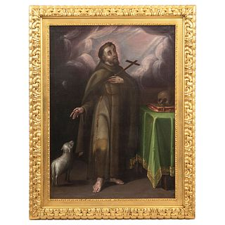 """ST FRANCIS OF ASSISI MEXICO, 18TH CENTURY Oil on canvas Conservation details 42.5 x 31.4"""" (108 x 80 cm)"""