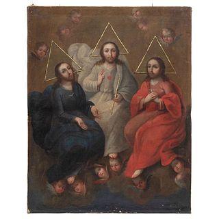 "TRINIDAD ANTROPOMORFA. MEXICO, 18TH CENTURY Oil on canvas 29.5 x 23.2"" (75 x 59 cm)"