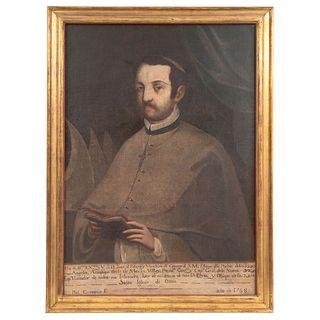 """MANUEL CARCANIO (MEXICO 1706-1783) RETRATO DEL OBISPO JUAN DE PALAFOX Y MENDOZA Oil on canvas Signed 36.6 x 25.9"""" (93 x 66 cm)"""