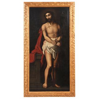 "ECCE HOMO MEXICO, 18TH CENTURY Oil on canvas Conservation details, 60.6 x 29.1"" (154 x 74 cm)"