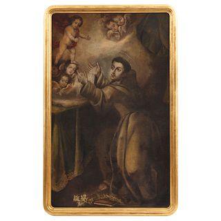 "APARICIÓN DE JESÚS NIÑO A SAN ANTONIO DE PADUA MÉXICO, EARLY 18TH CENTURY Oil on canvas 58.2 x 35.4"" (148 x 90 cm)"