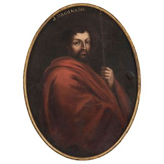 "SANTIAGO EL MAYOR Restoration details Oil on canvas 40.1 x 29.3"" (102 x 74.5 cm)"