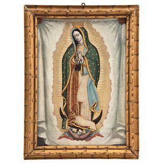 """VIRGEN DE GUADALUPE MEXICO, 19TH CENTURY Oil on copper sheet Conservation details 16.5 x 24.6"""" (42 x 29 cm)"""