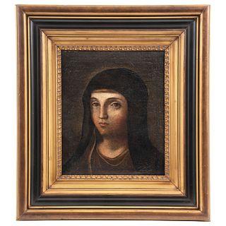 "VERA EFIGIE DE LA VIRGEN MARÍA ANONYMOUS, SPAIN, LATE 17TH CENTURY Oil on canvas Restored 14.1 x 12"" (36 x 30.5 cm)"
